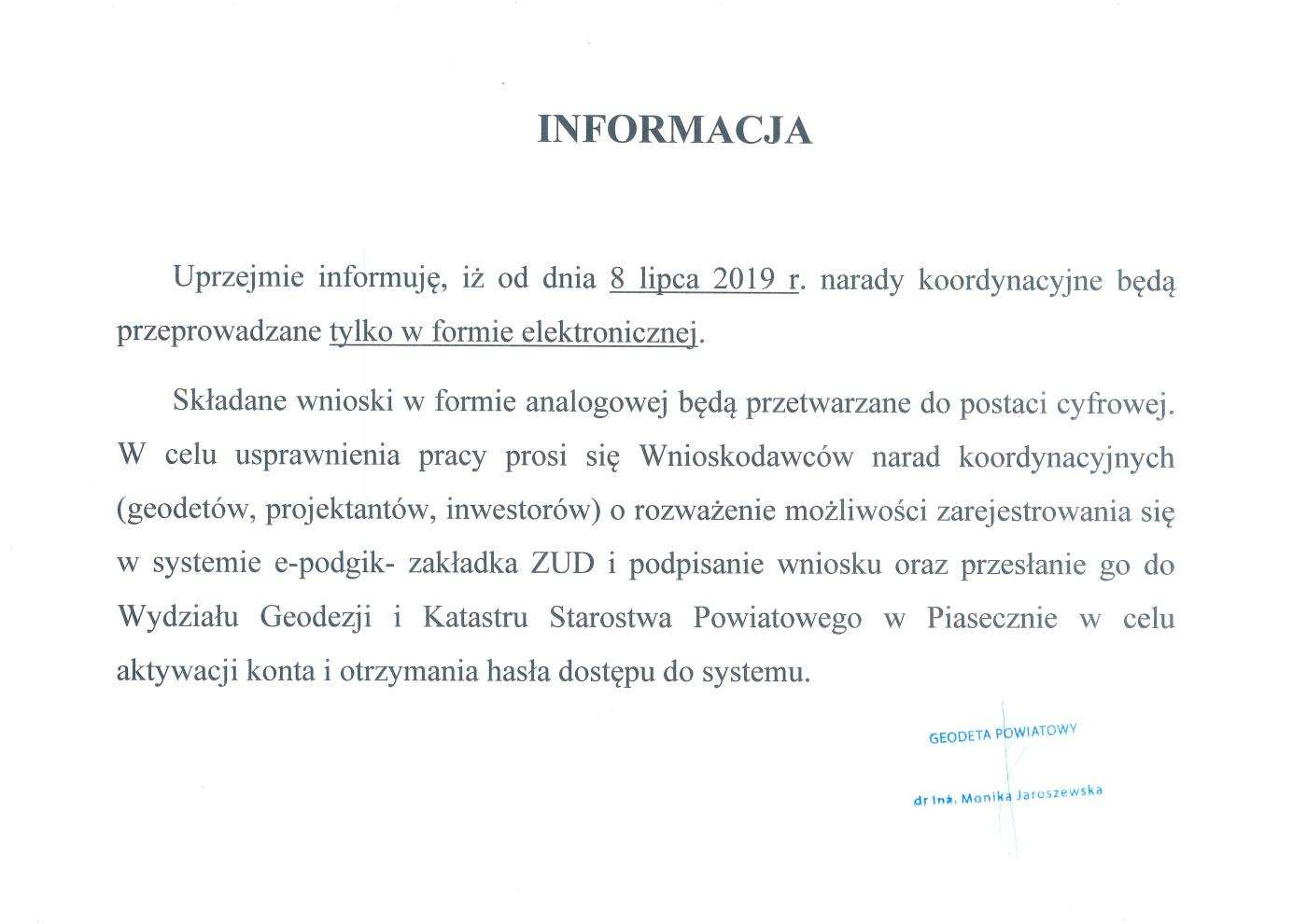 Informacja w sprawie narad koordynacyjnych